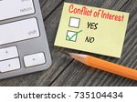 concept of no conflict of... | Shutterstock . vector #735104434