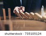 close up of businessman hand... | Shutterstock . vector #735105124