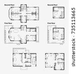 set of black and white... | Shutterstock .eps vector #735113665