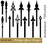 Medieval Vintage Spear Design Set. Useful for your vintage design. Isolated on white. VECTOR - stock vector