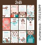creative calendar 2018 with...   Shutterstock .eps vector #735115699
