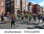 new york city marathon on... | Shutterstock . vector #735116545