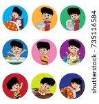 set of daily cute boy.boy wake... | Shutterstock .eps vector #735116584