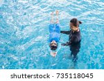 girl learning to swim with...   Shutterstock . vector #735118045