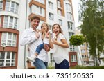 young family looking excited... | Shutterstock . vector #735120535