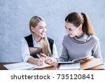 attractive casual businesswomen ...   Shutterstock . vector #735120841