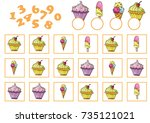 counting game for preschool... | Shutterstock .eps vector #735121021
