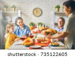 happy thanksgiving day  autumn... | Shutterstock . vector #735122605