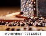 aroma coffee chocolate cookies... | Shutterstock . vector #735123835