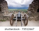Cannon In Castle With Cloudy Sky