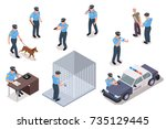 policeman in uniform with dog... | Shutterstock .eps vector #735129445