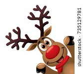 vector xmas drawing of funny... | Shutterstock .eps vector #735129781