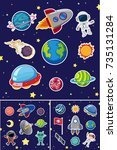 space icons with rockets and... | Shutterstock .eps vector #735131284