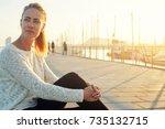 beautiful thoughtful female... | Shutterstock . vector #735132715