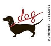 black silhouette of dachshund... | Shutterstock .eps vector #735133981