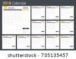 2018 calendar template  planner ... | Shutterstock .eps vector #735135457