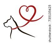 black outline of great dane dog ... | Shutterstock .eps vector #735135625