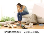 desperate homeowner complaining ... | Shutterstock . vector #735136507
