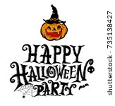 happy halloween party lettering ... | Shutterstock .eps vector #735138427