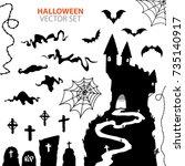 vector collection of halloween... | Shutterstock .eps vector #735140917