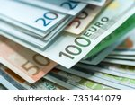 euro and usa dollar money... | Shutterstock . vector #735141079