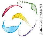 beautiful liquid collection of... | Shutterstock . vector #735142741