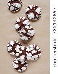 chocolate crinkle cookies on... | Shutterstock . vector #735142897