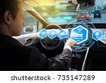 interior of autonomous car.... | Shutterstock . vector #735147289