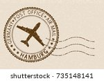 postal stamp with hamburg title.... | Shutterstock .eps vector #735148141