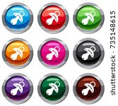 baby pacifier set icon isolated ...   Shutterstock .eps vector #735148615