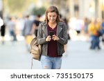 front view of a fashion girl... | Shutterstock . vector #735150175
