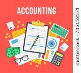 accounting  bookkeeping  check... | Shutterstock .eps vector #735153571