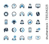 customer support icons   blue... | Shutterstock .eps vector #735154225