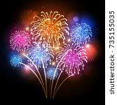 vector holiday firework.... | Shutterstock .eps vector #735155035