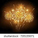 vector holiday firework.... | Shutterstock .eps vector #735155071