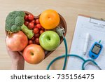 diabetes monitor  cholesterol... | Shutterstock . vector #735156475