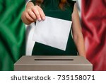 election in italy   voting at... | Shutterstock . vector #735158071