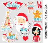 christmas set of stickers  pins ... | Shutterstock .eps vector #735159265