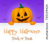 halloween card with realistic... | Shutterstock .eps vector #735159424