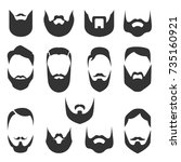 set of bearded men faces ... | Shutterstock .eps vector #735160921