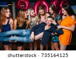 macho at new year party. sexual ... | Shutterstock . vector #735164125
