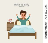 man wake up in the morning.... | Shutterstock .eps vector #735167221