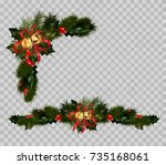 christmas decoration set of fir ... | Shutterstock .eps vector #735168061