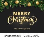 merry christmas hand written... | Shutterstock .eps vector #735173047