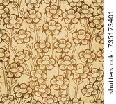 retro brown watercolor texture... | Shutterstock .eps vector #735173401