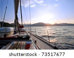 Sailing Boat In The Sea At...
