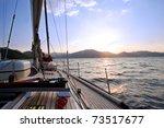 Sailing Boat In The Sea At...
