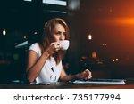 young pretty european woman... | Shutterstock . vector #735177994