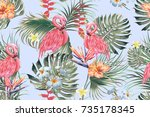 beautiful seamless vector... | Shutterstock .eps vector #735178345