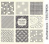 set of nine seamless hand drawn ...   Shutterstock .eps vector #735178924